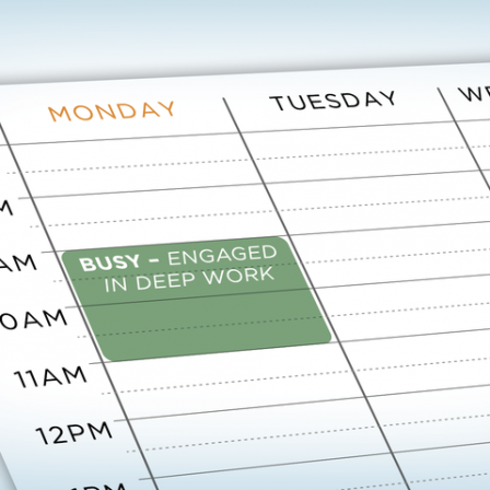 "image of a schedule with a marked calendar ""busy"""