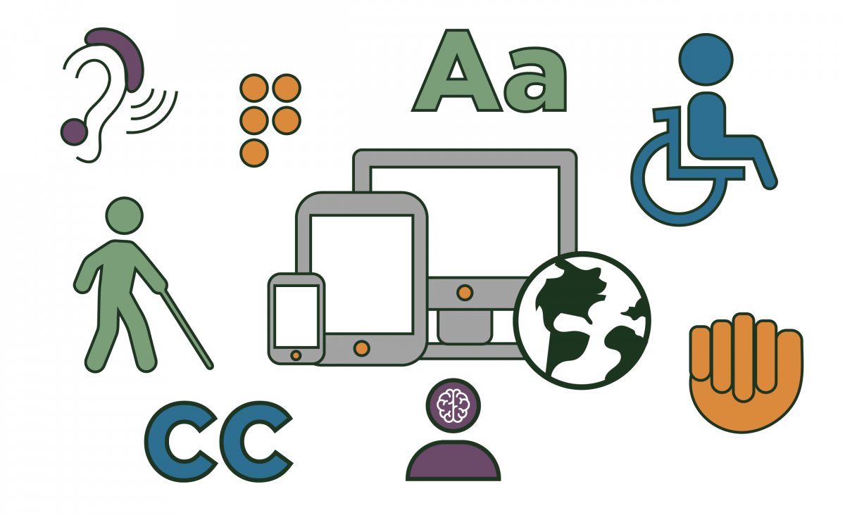An image showing a phone, tablet, and computer, with a globe icon overlapping them. Surrounding this image are various symbols representing accessibility such as braille, wheelchair access and closed captioning.