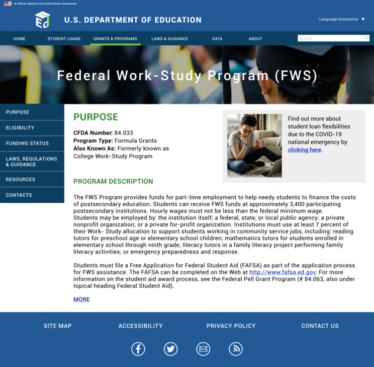 qip's redesign of the federal work study page for the Ed.gov website redesign competition
