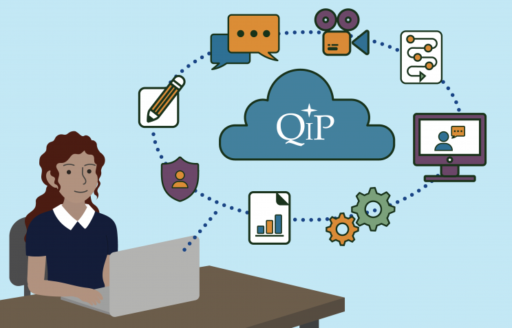 illustration of woman working at a laptop, with icons indicating she is using various virtual tools