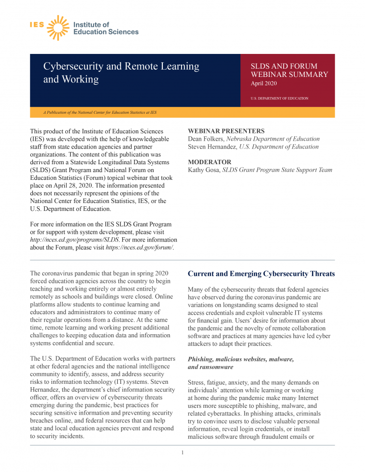 SLDS Webinar Summary: Cybersecurity and Remote Learning and Working