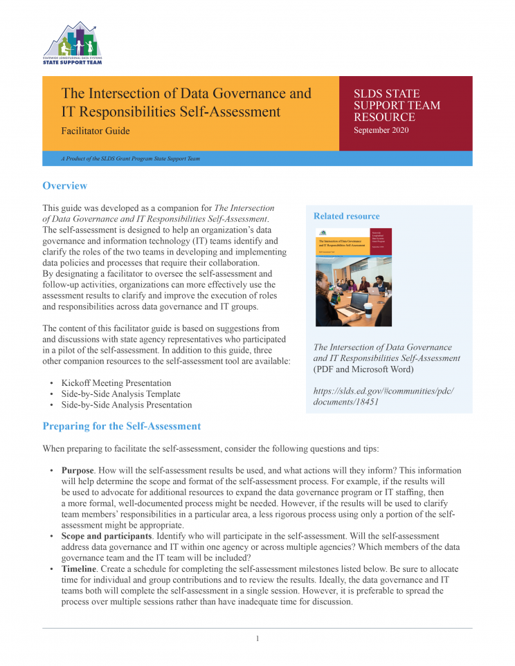 SLDS Guide: Considerations for the Development of Shared Business Intelligence Tools