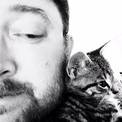 Andrew Scott Pyle and his kitten, Jules