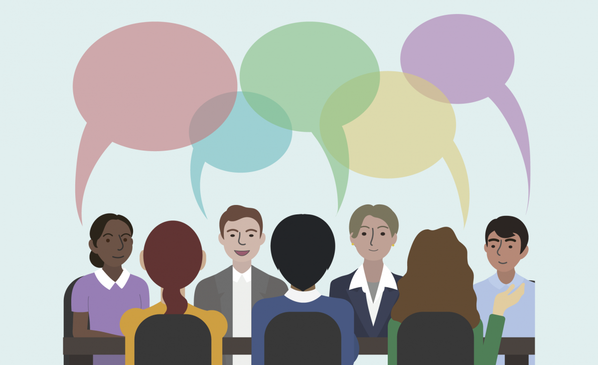 people talking in a meeting
