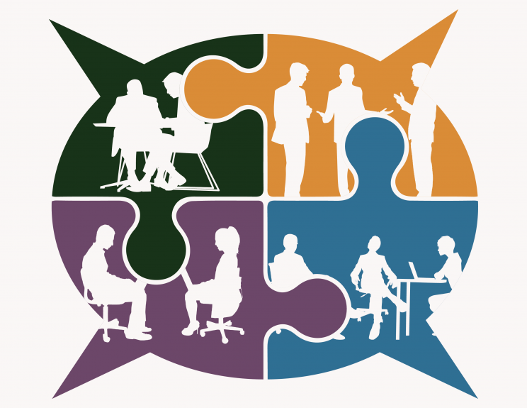 Graphic illustrating different people working together