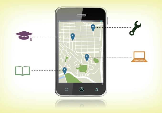 cell phone with GPS map