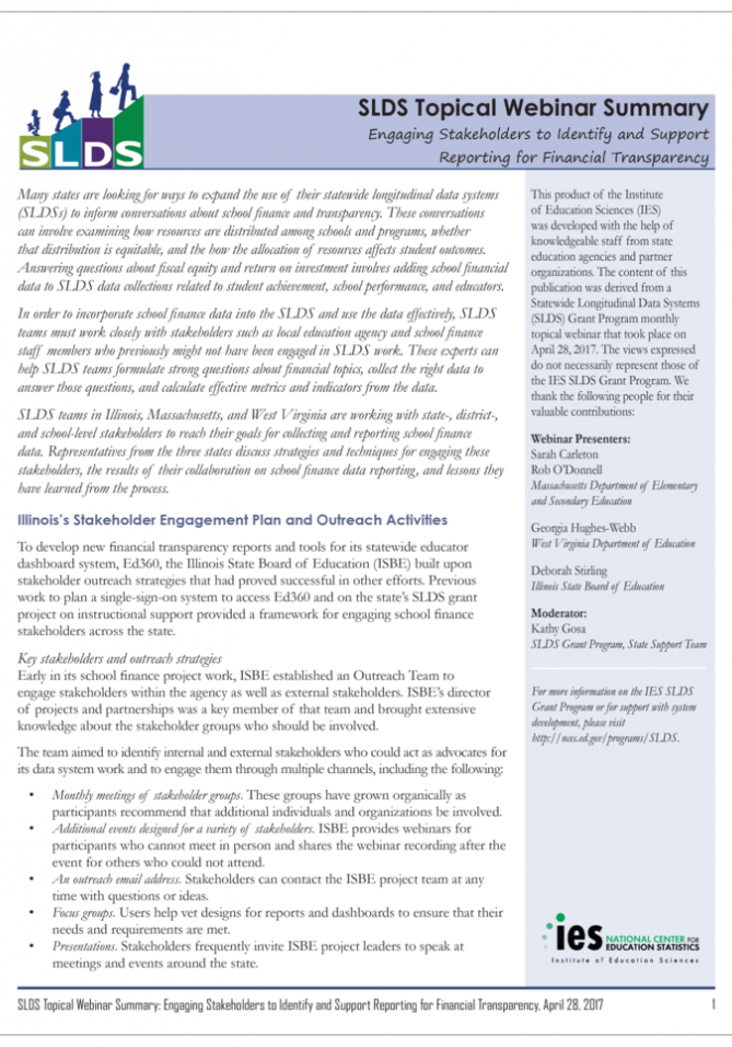 SLDS Topical Webinar Summary cover page