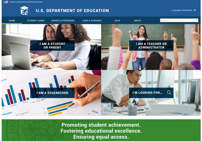qip's home page design for the ed.gov redesign