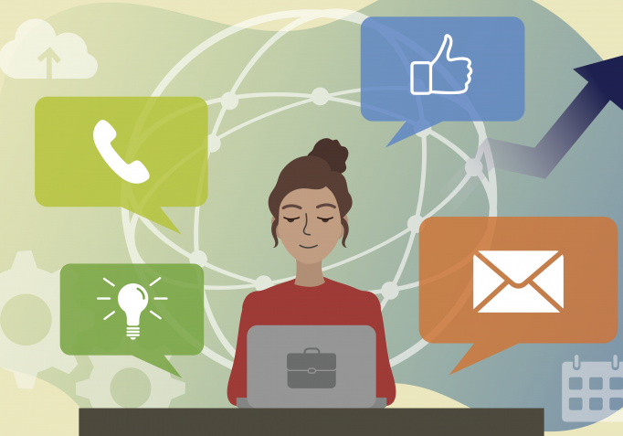 illustration of woman working remotely