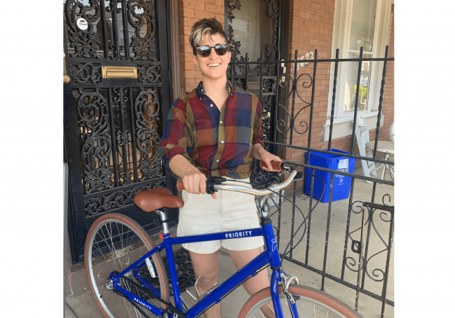 Lindsey Huster and bicycle